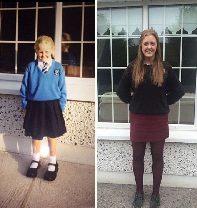16 фотографий выпускников в их первый и последний день в школе