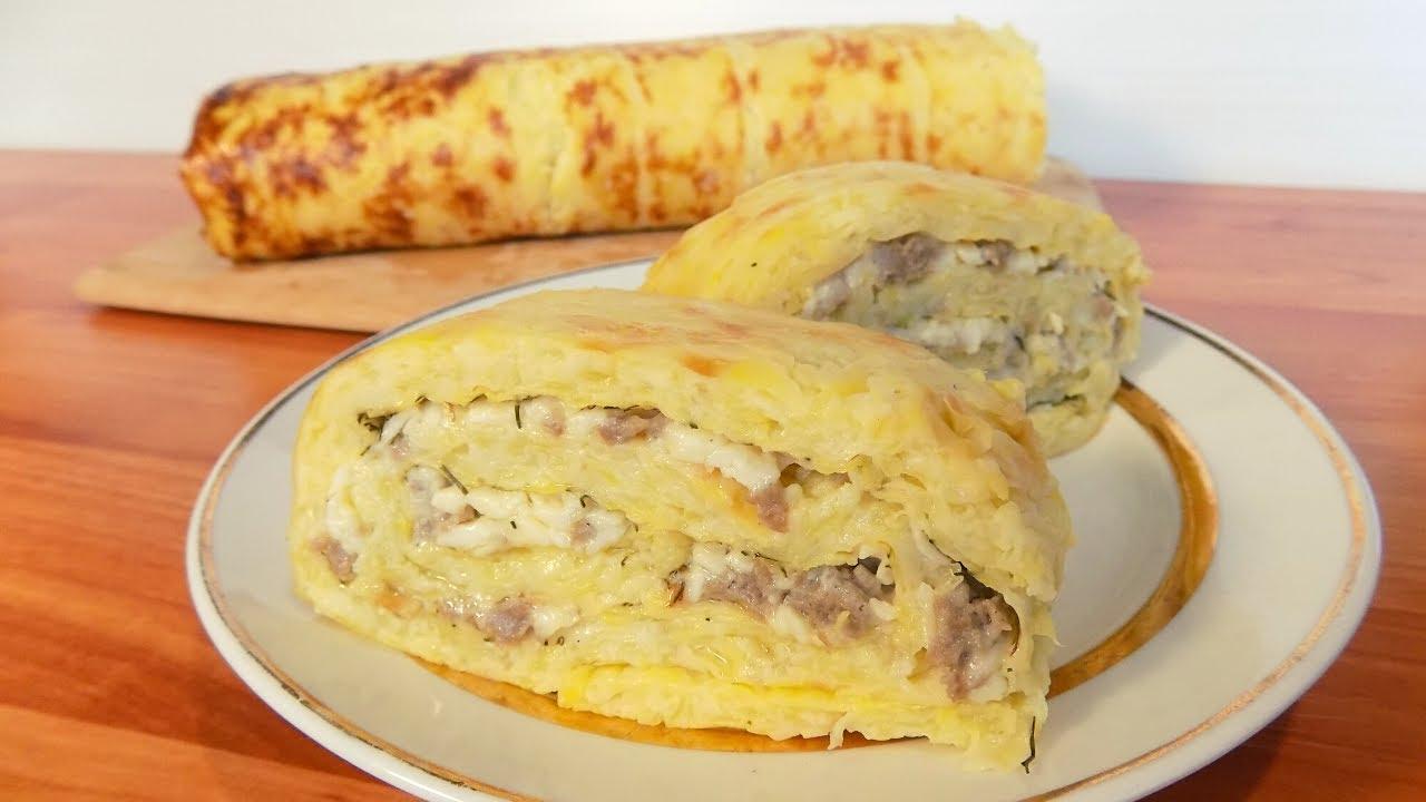 Рулет из кабачков с фаршем и сыром приготовленный в духовке. Оригинальный рецепт закуски из кабачков