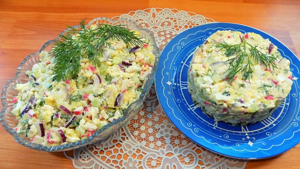 Салат из крабовых палочек с плавленным сыром и огурцом. Простой рецепт