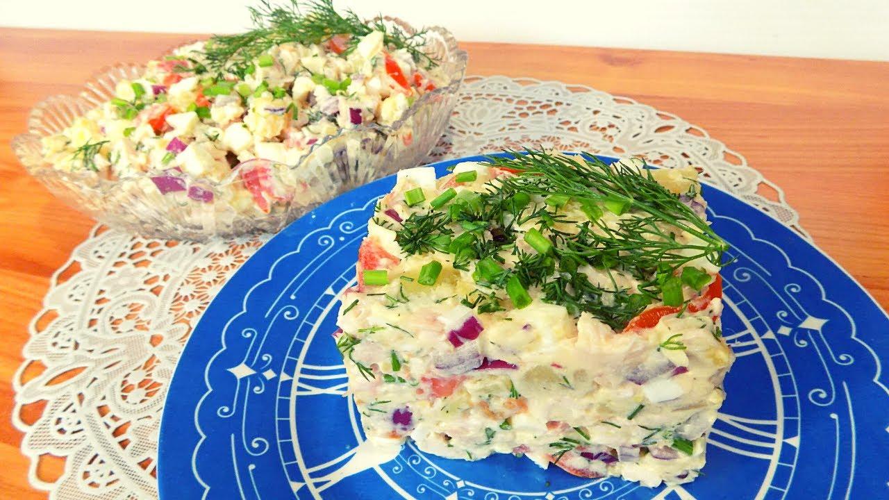 Салат с копченой грудкой и помидорами с сыром.Простой рецепт салата с копченой курицей