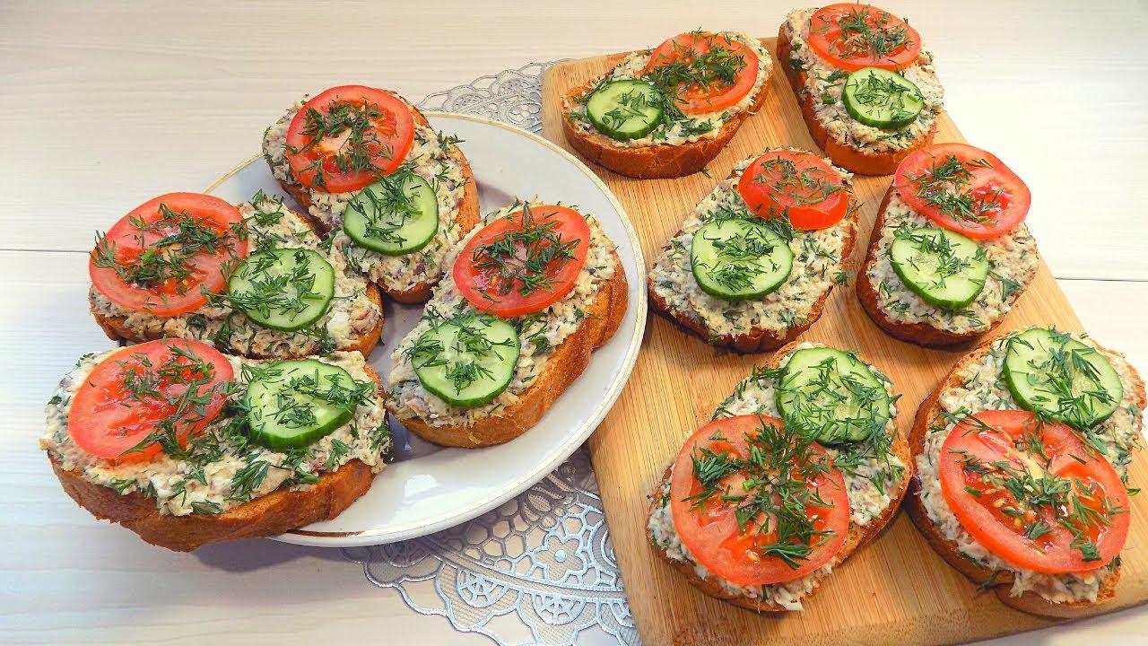 Бутерброды на праздничный стол с рыбной консервой и яйцом